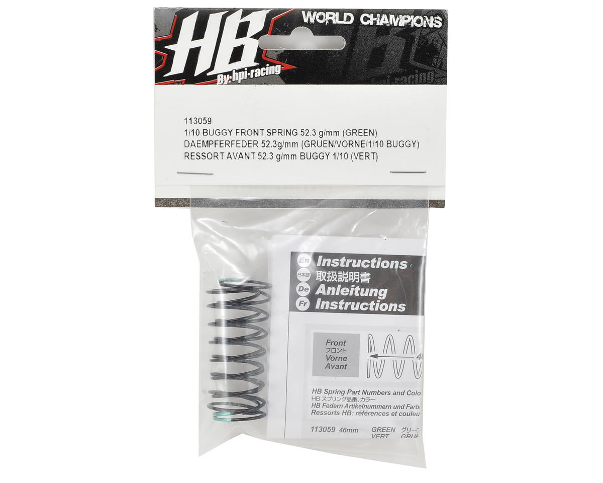 HB Racing Front Shock Spring (Green - 52.3g/mm)