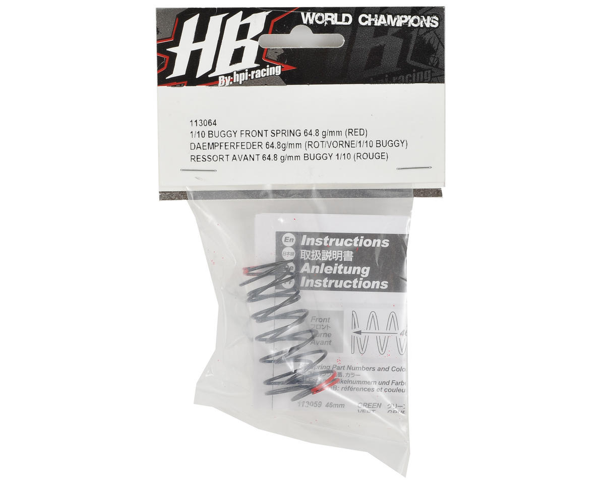 HB Racing Front Shock Spring (Red - 64.8g/mm)