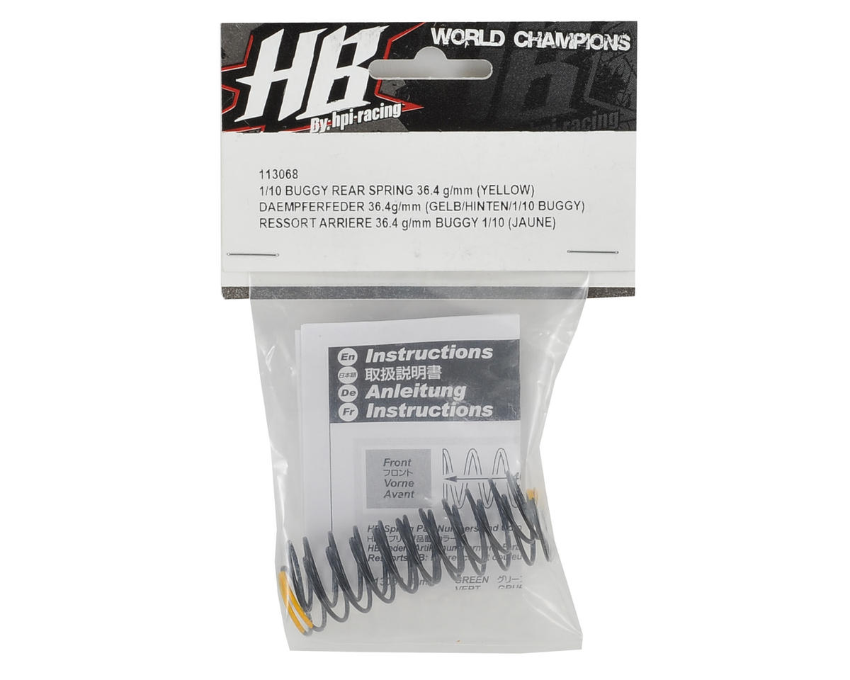 HB Racing 36.4mm Rear Shock Spring (Yellow - 36.4g/mm) (2)