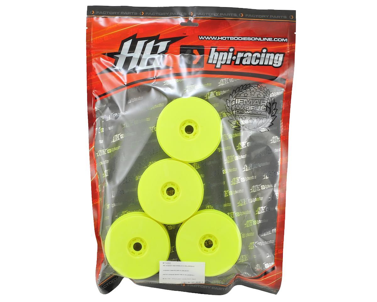 HB Racing V2 1/8 Buggy Dish Wheels (Yellow) (4)