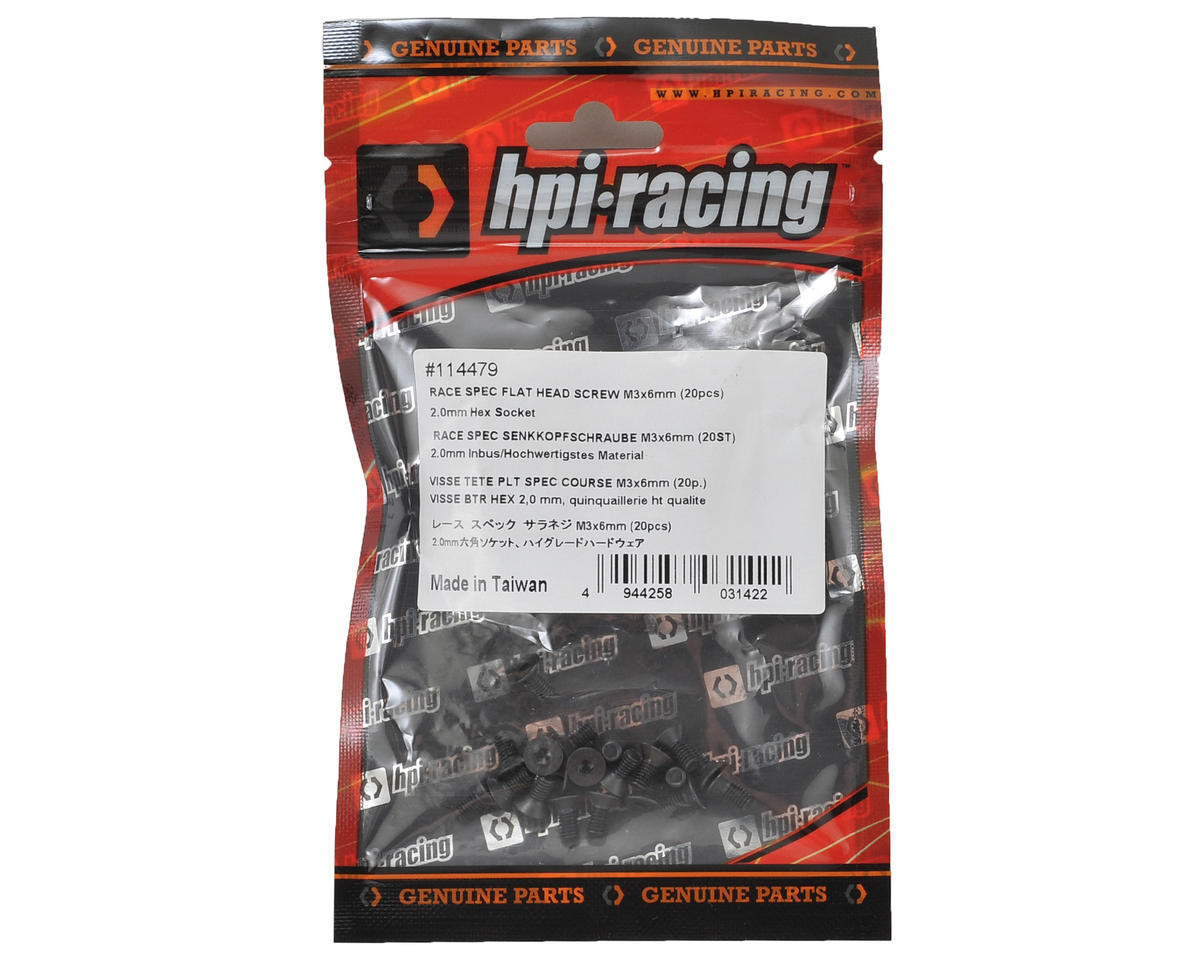 HB Racing 3x6mm Race Spec Flat Head Screw (20)
