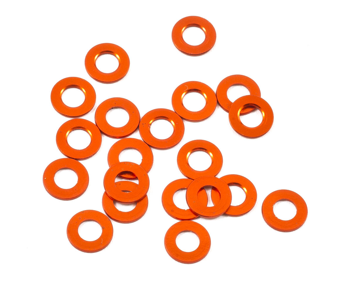 HB Racing 3x6x0.5mm Aluminum Washer (Orange) (20)