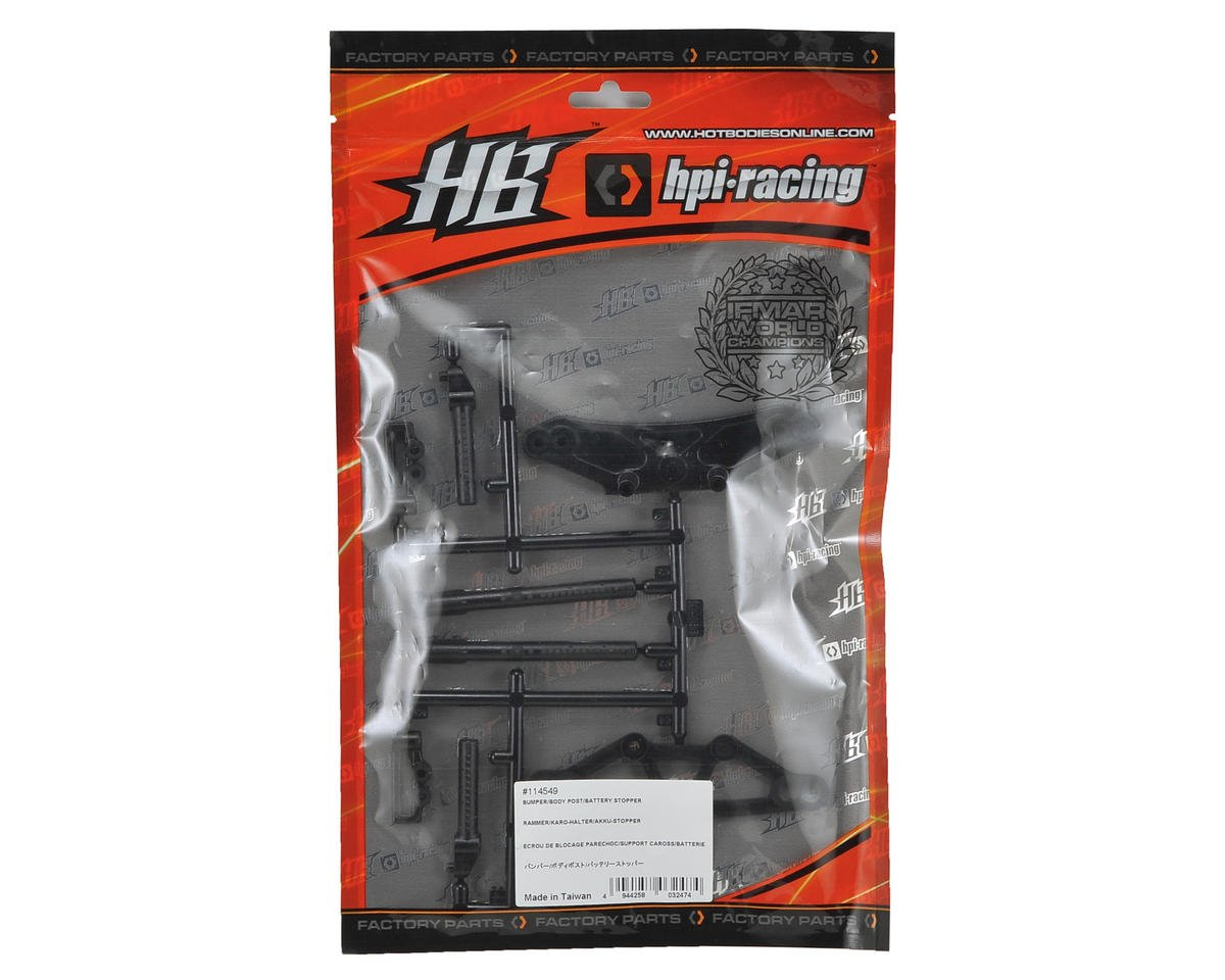 HB Racing Bumper, Body Post & Battery Stopper Set