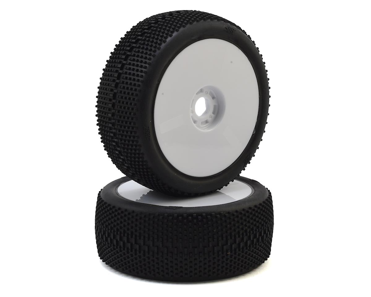 HB Racing Megabite Pre-Mounted 1/8 Buggy Tire (2) (White) (Pink)