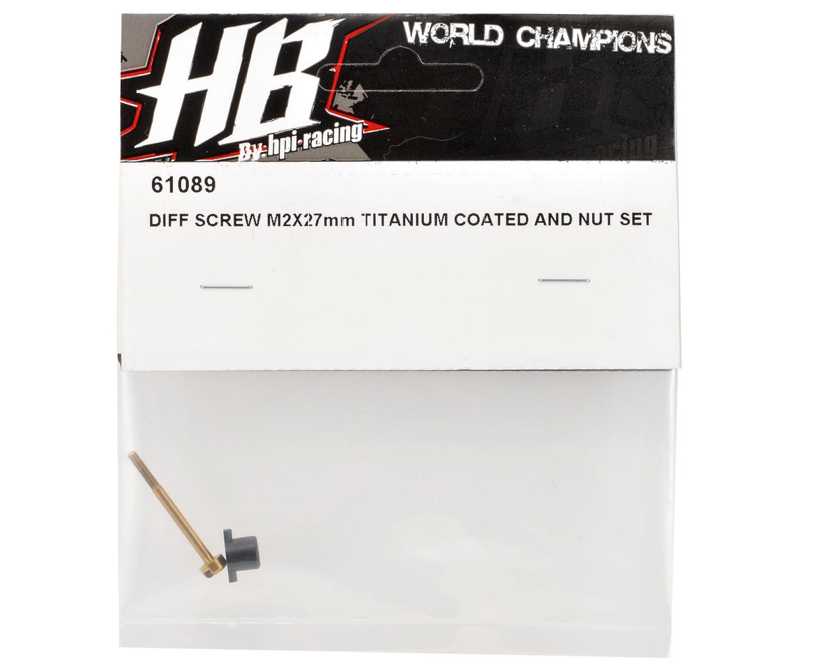 HB Racing 2x27mm Titanium Coated Differential Screw & Nut Set
