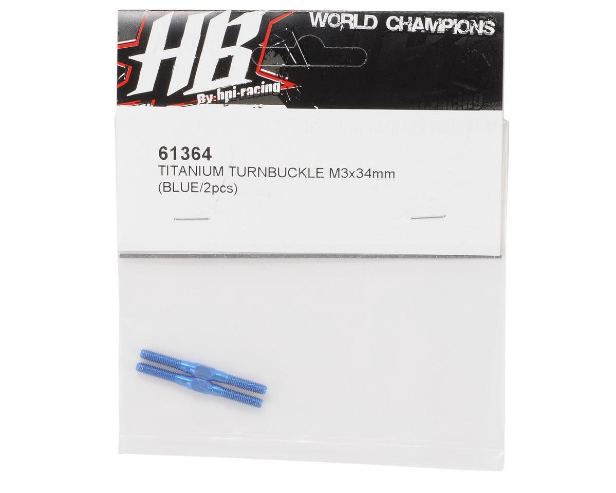 HB Racing 3x34mm Titanium Turnbuckle (Blue)