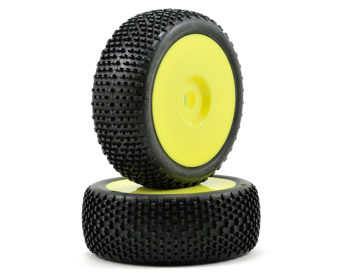 HB Racing Khaos Pre-Mounted 1/8 Buggy Tire (2) (Yellow)