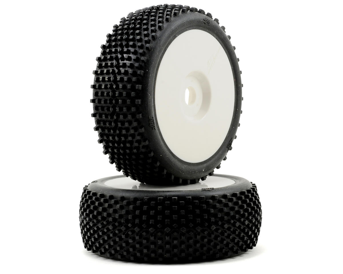 HB Racing Block Pre-Mounted 1/8 Buggy Tires (White) (2)