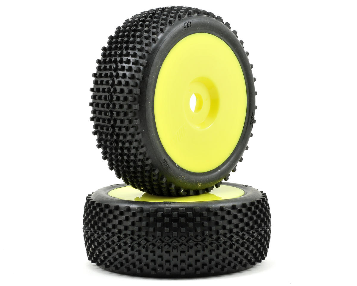 HB Racing Block Pre-Mounted 1/8 Buggy Tire (2) (Yellow)