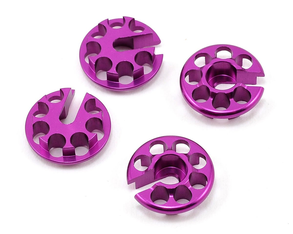 HB Racing TCXX Aluminum Shock Spring Perch Set (Purple) (4)