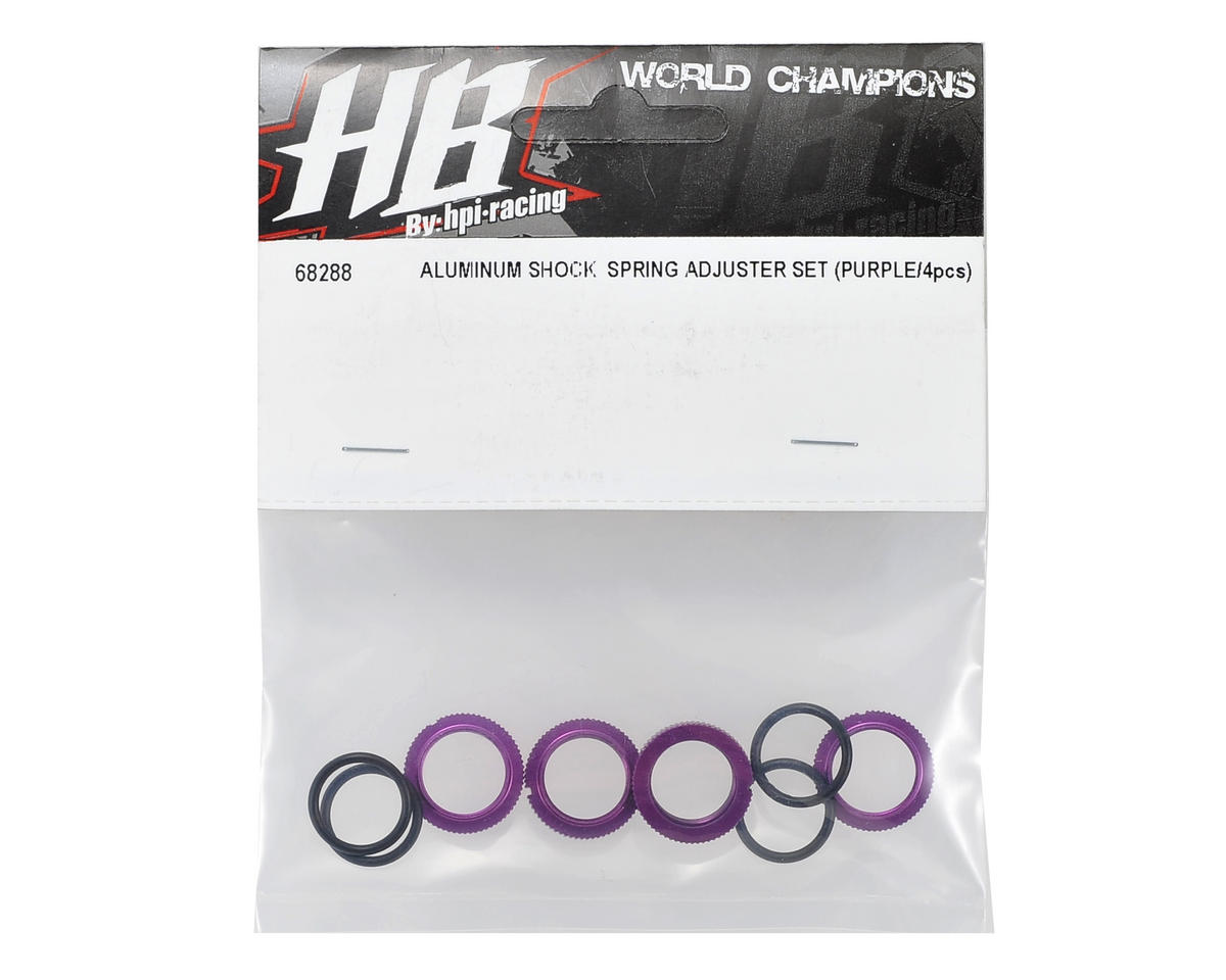 HB Racing Aluminum Shock Spring Adjuster Set (Purple) (4)