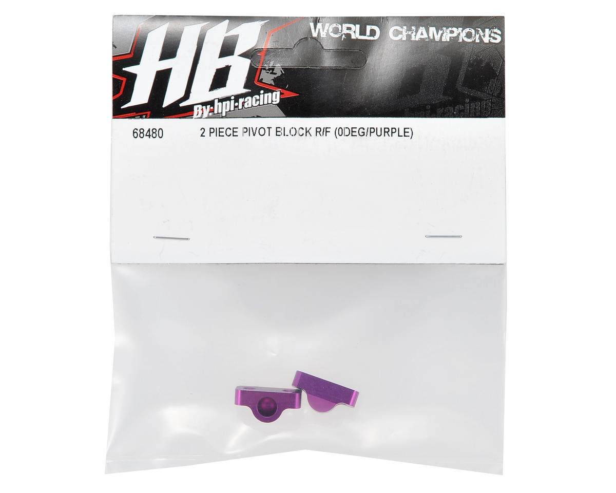 HB Racing Aluminum 0° Two Piece Rear/Front Pivot Block Set (Purple) (2)