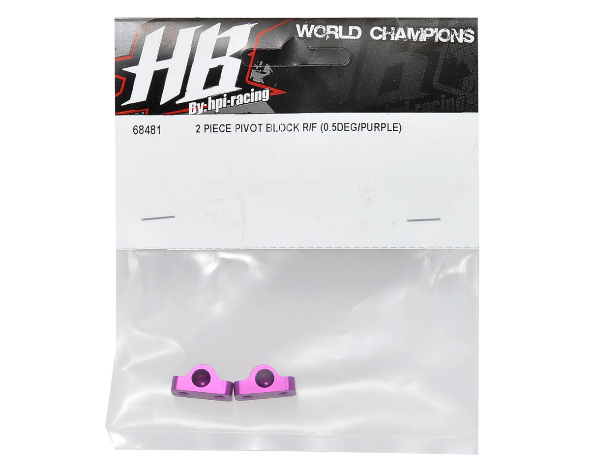 HB Racing Aluminum 0.5° Two Piece Rear/Front Pivot Block Set (Purple) (2)