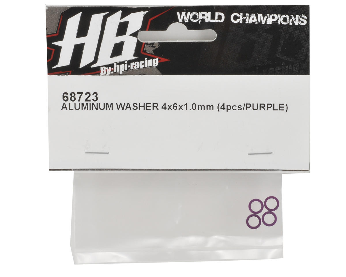 HB Racing 4x6x1.0mm Aluminum Washer Set (Purple) (4)