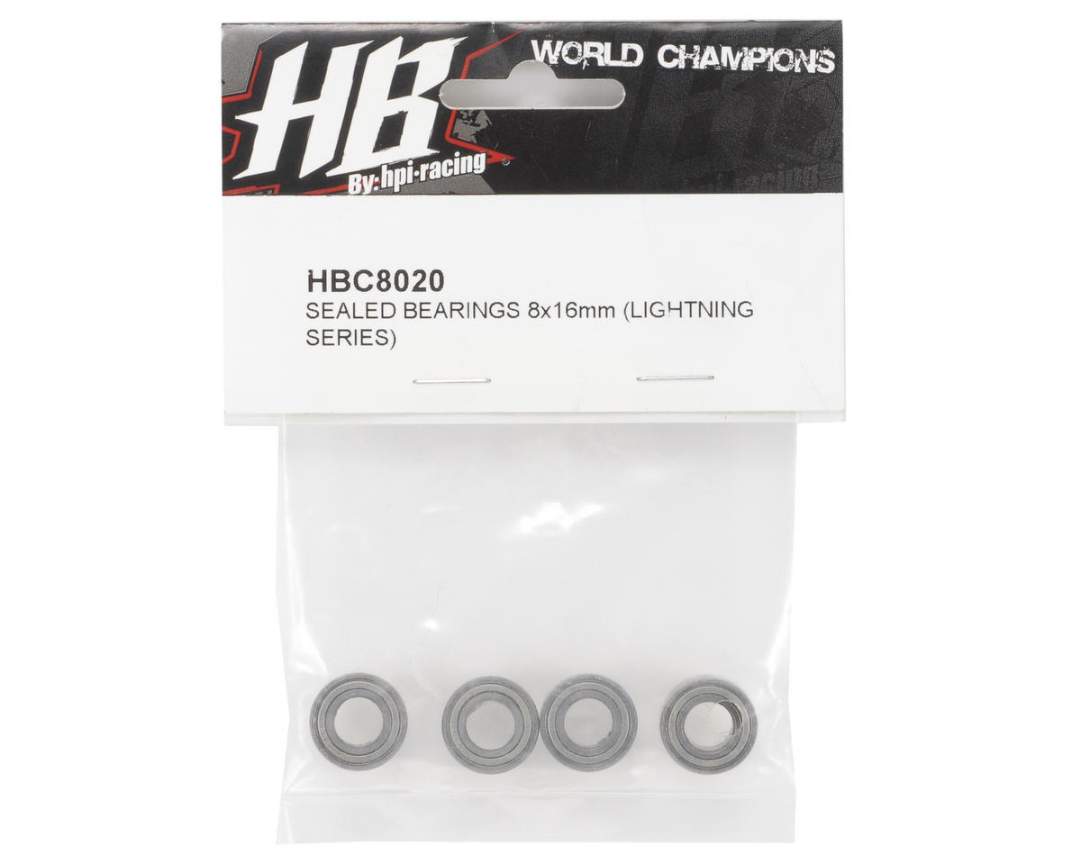HB Racing 8x16mm Metal Shielded Bearing Set (4)