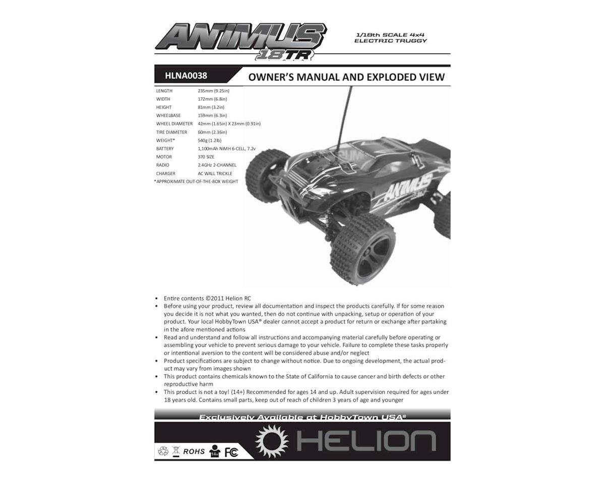 Helion Animus 18TR Owner's Manual & Exploded View