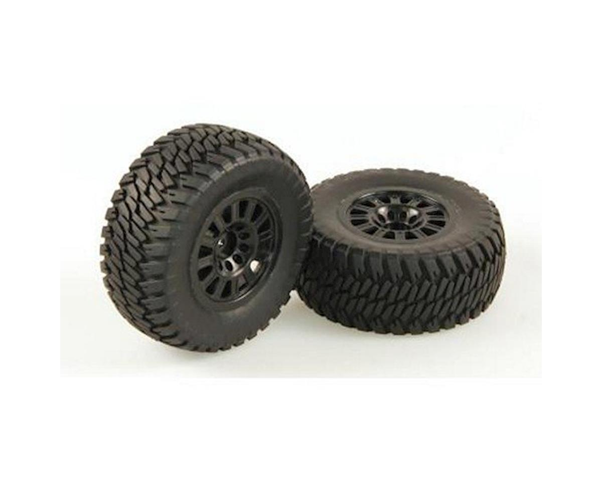 Helion RC Tires, AT2, Mounted, Black Wheel, Pair (Dominus SC)
