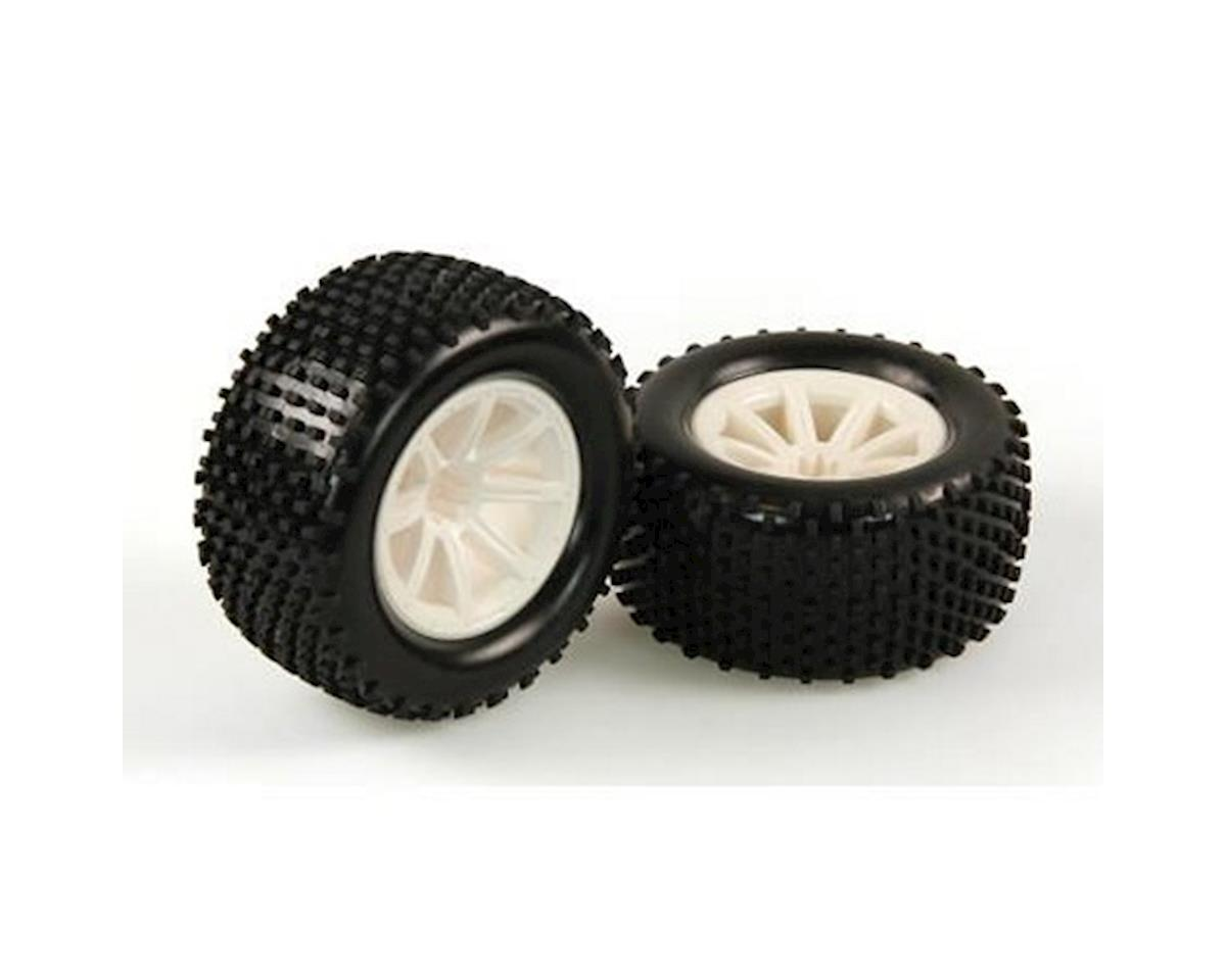 Tires, Mounted, White Wheel, Pair (Dominus TR) by Helion RC
