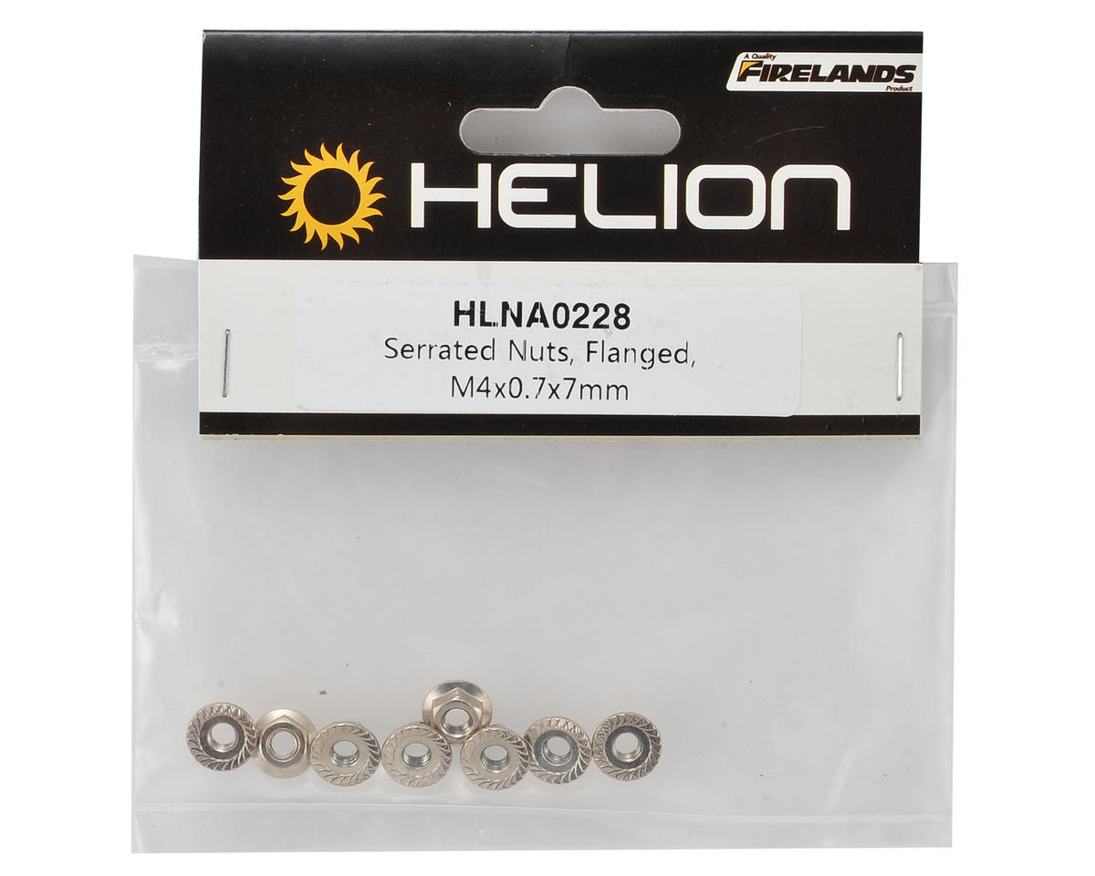 4x0.7x7mm Flanged Serrated Nuts (8) by Helion