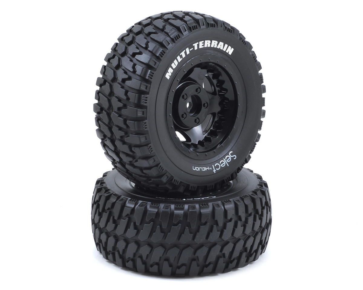 Pre-Mounted Short Course Tires & Wheels (Black) (2) (Four 10SC) by Helion RC