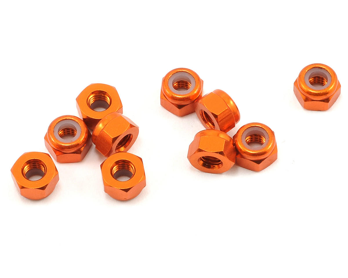 HPI Racing Savage XS Flux 3mm Aluminum Thin Locknut Set (Orange) (10)
