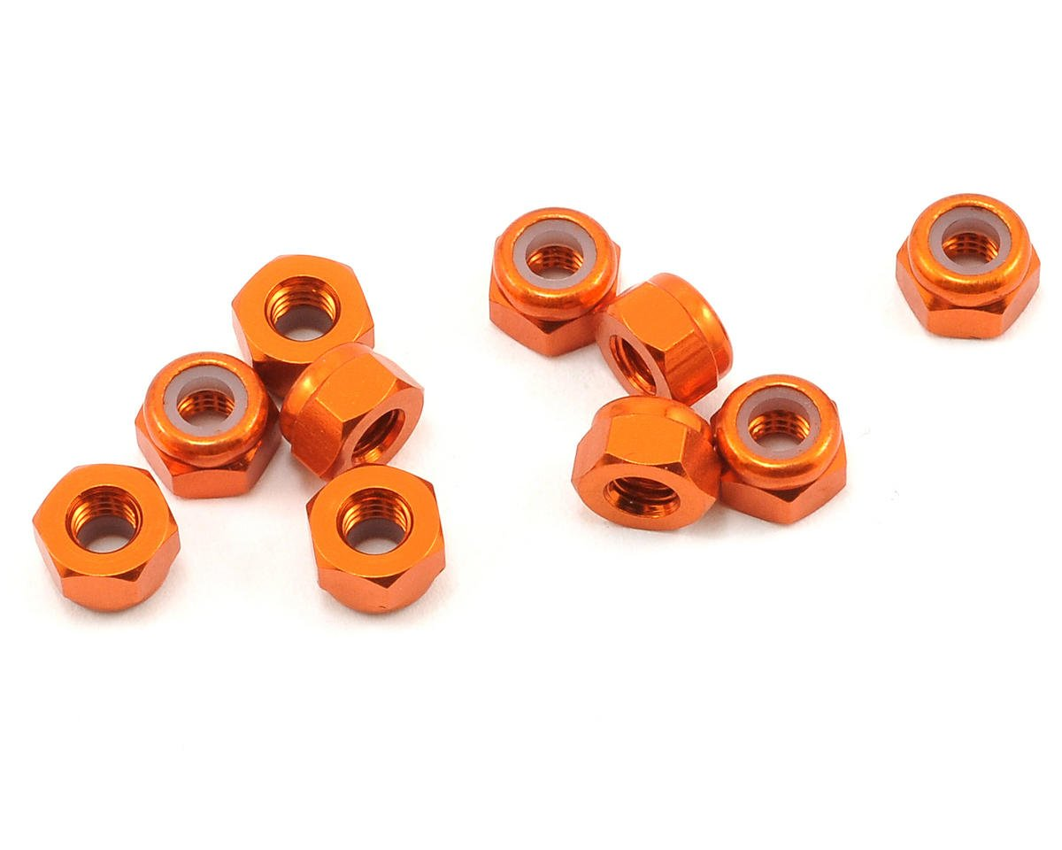 HPI Racing Firestorm 10T 3mm Aluminum Thin Locknut Set (Orange) (10)