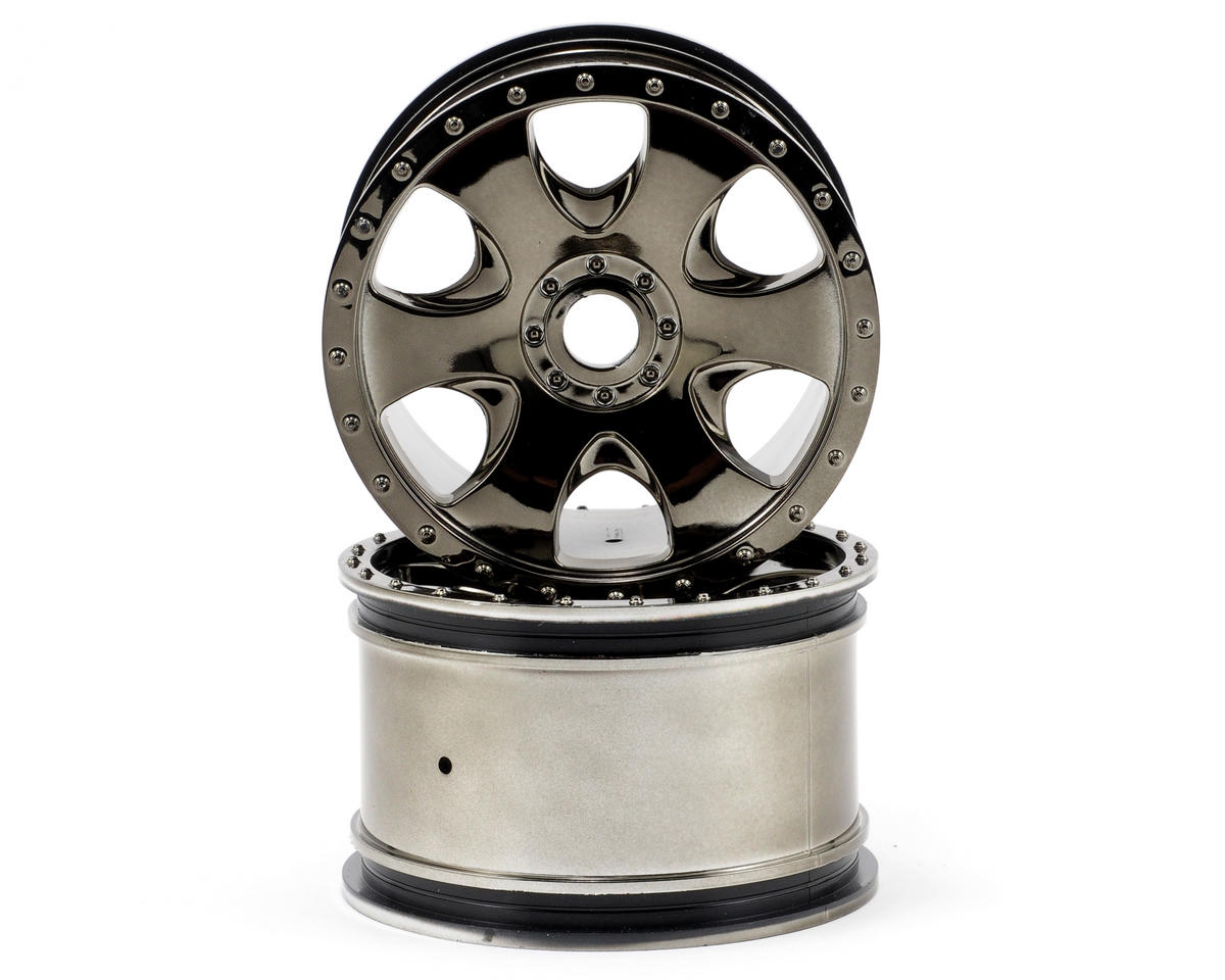 HPI Warlock Monster Truck Wheels (2) (Black Chrome)
