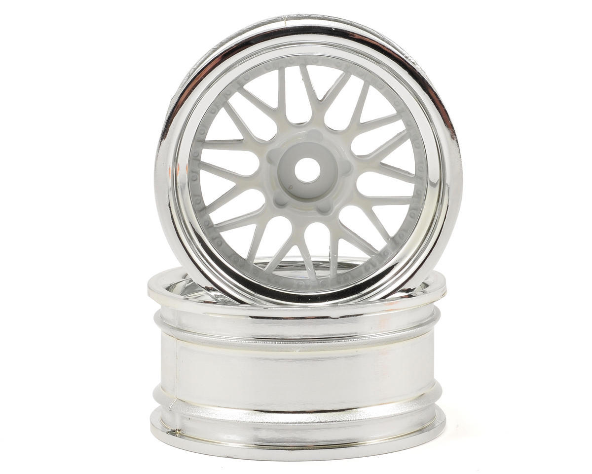 12mm Hex 26mm HRE C90 Wheel (2) (6mm Offset) (Chrome/White) by HPI