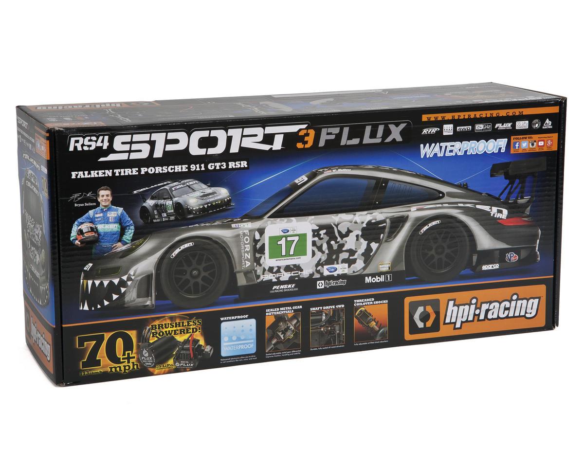 HPI Sport 3 Flux RTR 1/10 Touring Car w/Falken Porsche 911 GT3 RSR Body &  2 4GHz Radio