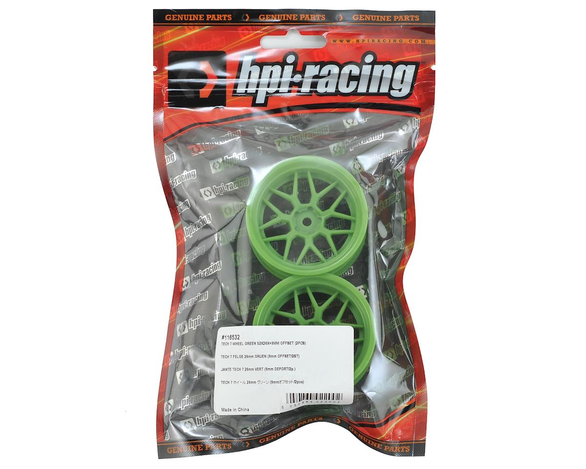 HPI 12mm Hex 52x26mm Tech 7 Wheel (Green) (2) (+9mm Offset)