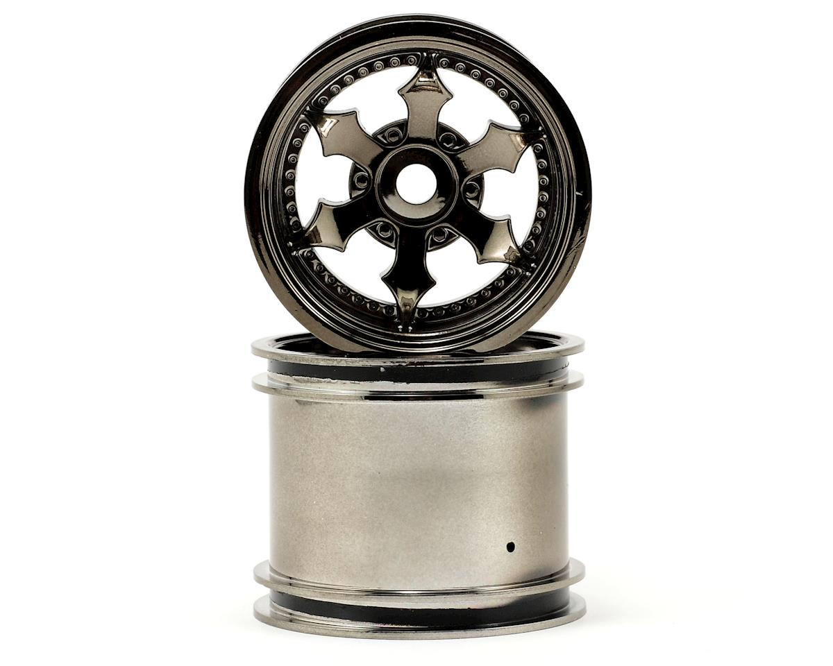 "HPI Racing Wheely King Spike 2.2"" Truck Wheels w/Universal Adapter (2) (Black Chrome)"