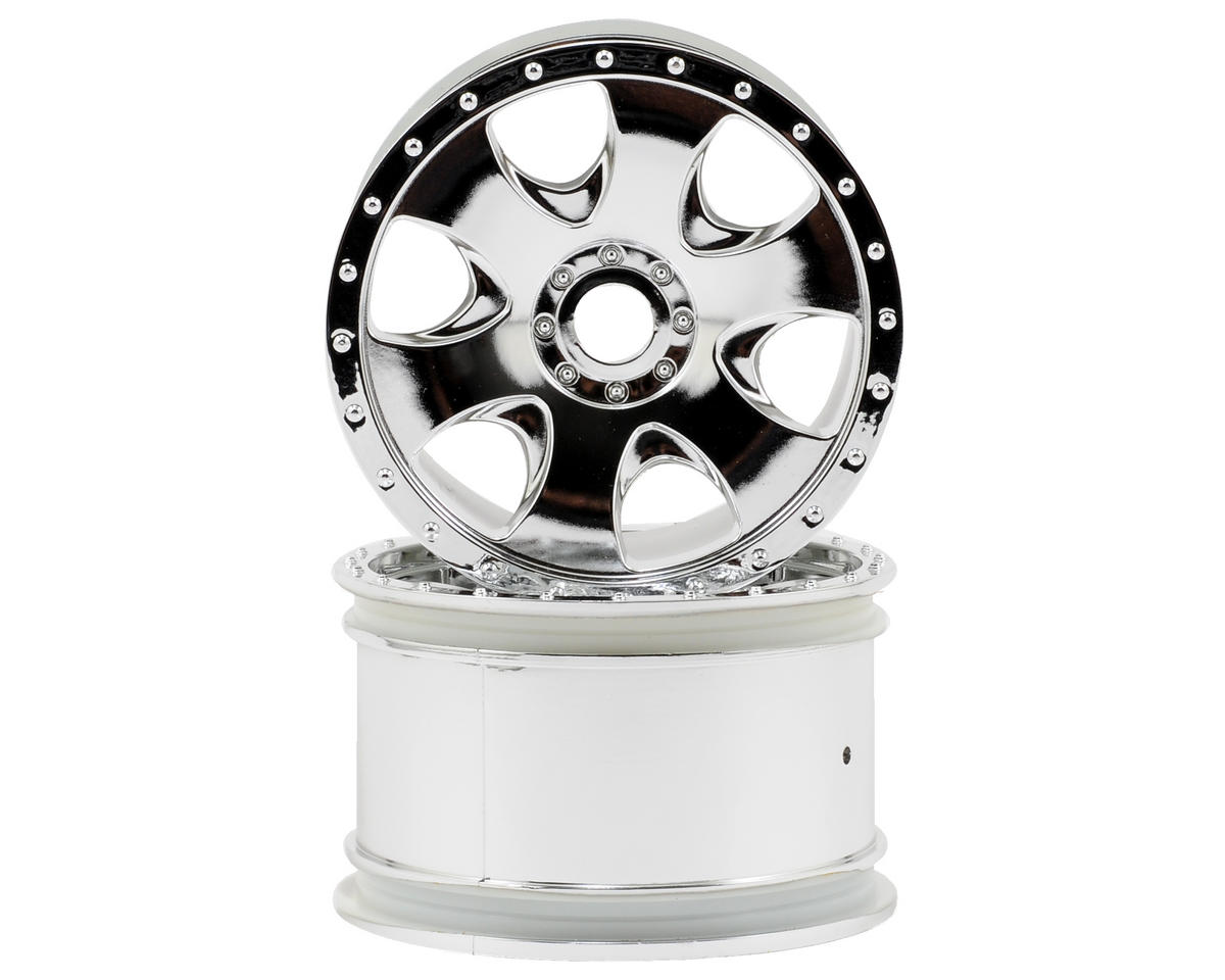 HPI Racing Warlock Spoked Standard Offset 17mm Monster Truck Wheels (2) (Chrome) (Thunder Tiger ST-1)