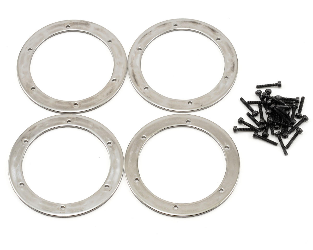 HPI Racing Wheely King 6 Hole Beadlock Ring Set (Silver) (4)