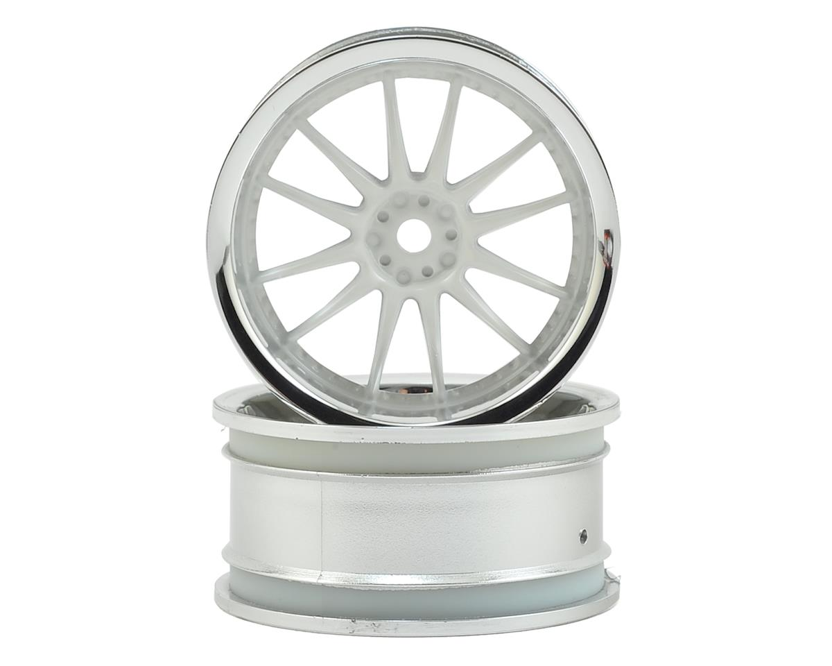 HPI Nitro RS4 3 Drift 12mm Hex 26mm Work XSA 1/10 Wheel (White/Chrome) (2) (3mm Offset)
