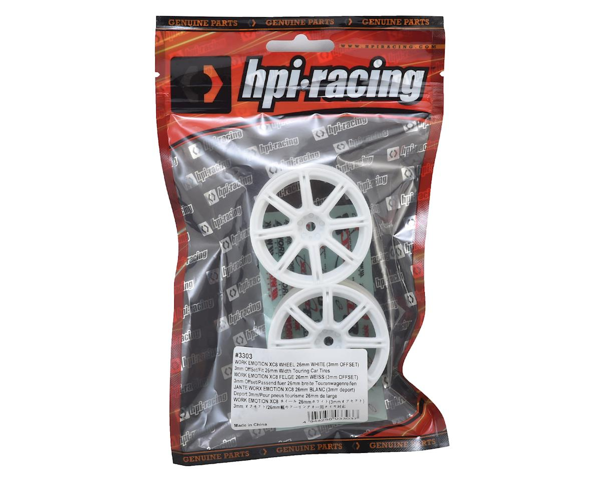 12mm Hex 26mm Work XC8 TC Wheel (White) (2) (3mm Offset) by HPI