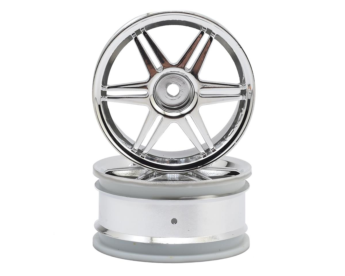 HPI E10 12mm Hex 26mm Corsa 1/10 TC Wheel (Chrome) (2)