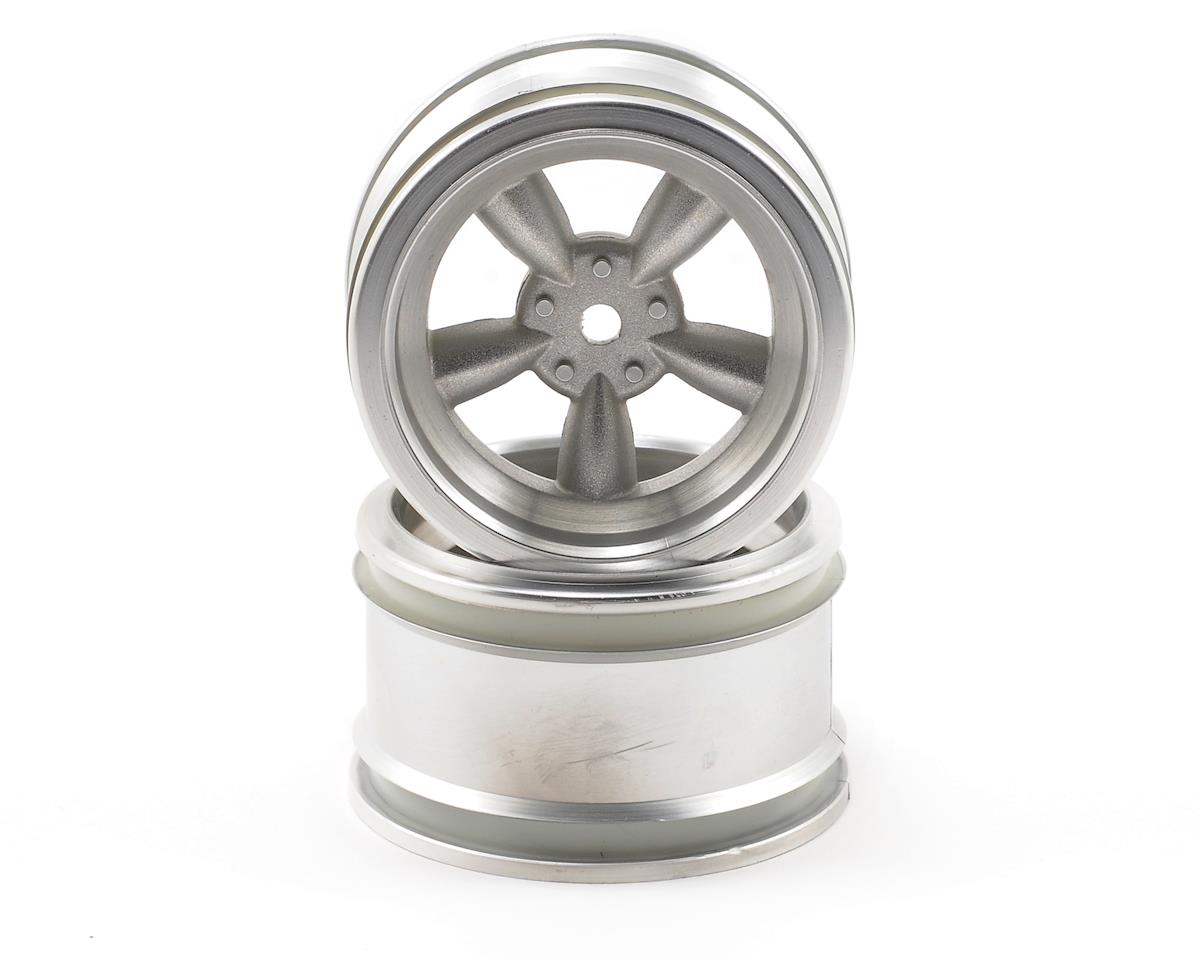 12mm Hex 31mm Vintage 5-Spoke Wheel (2) (6mm Offset) (Matte Chrome) by HPI 1/10th Hoonicorn