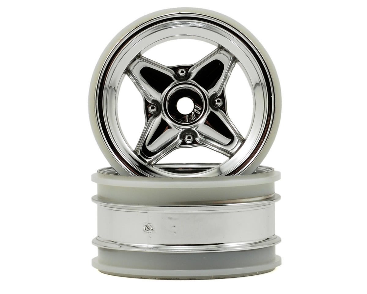 HPI MX60 4 Spoke Wheel (2) (3mm Offset) (Chrome)