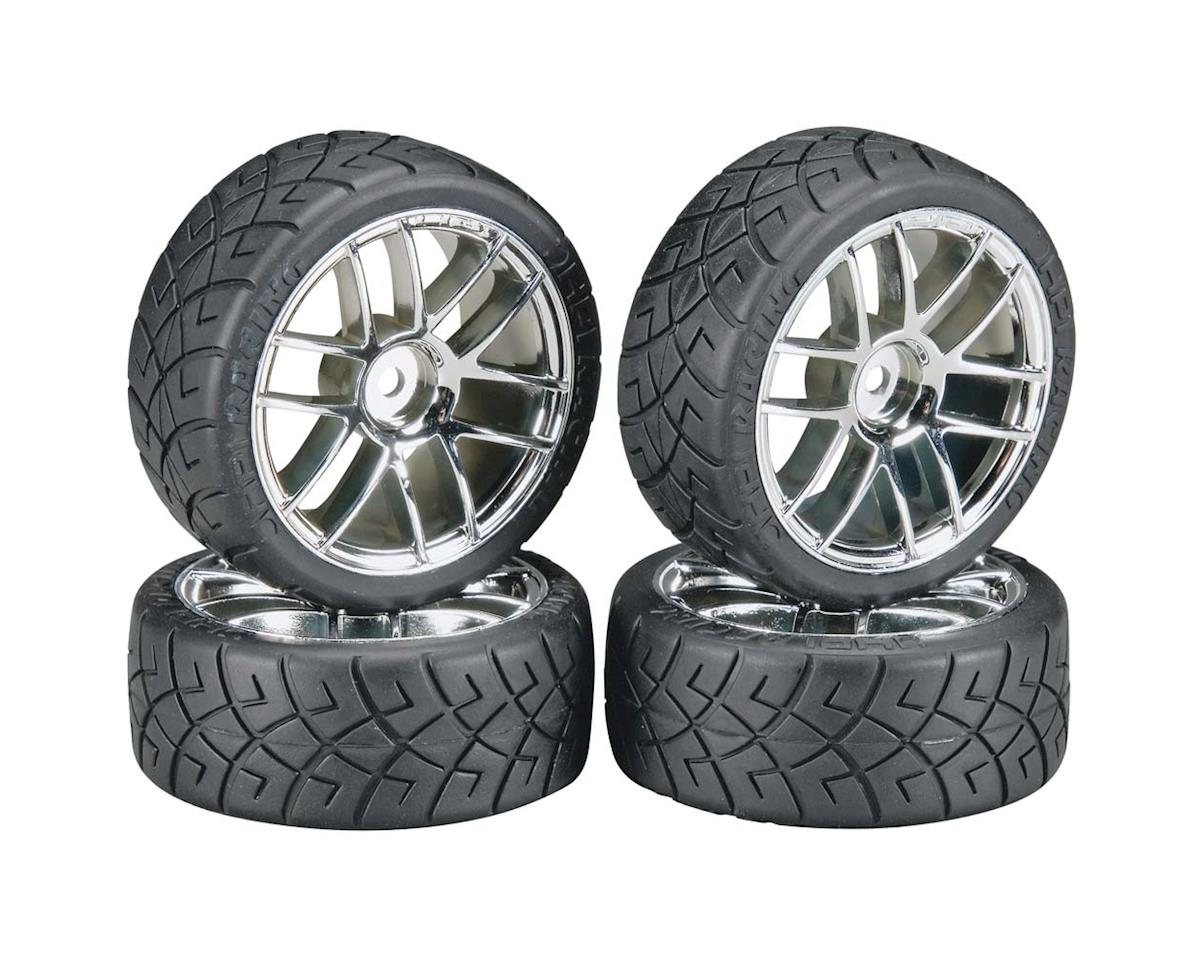 HPI Mounted X-Pattern Tire D Compound Split 6 Chrome