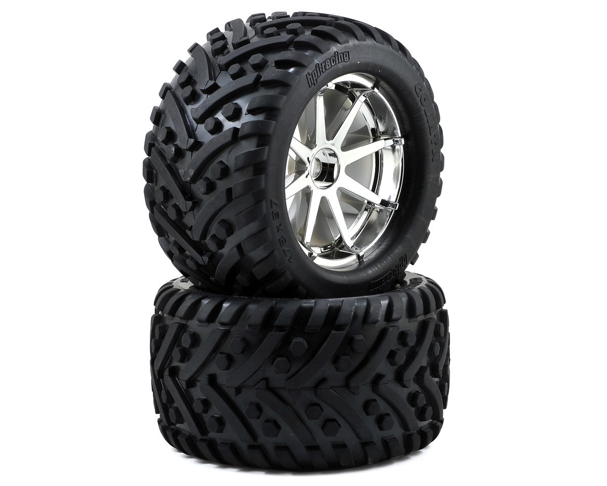 Pre-Mounted Goliath Tire w/Blast Wheel (2) (Chrome) by HPI