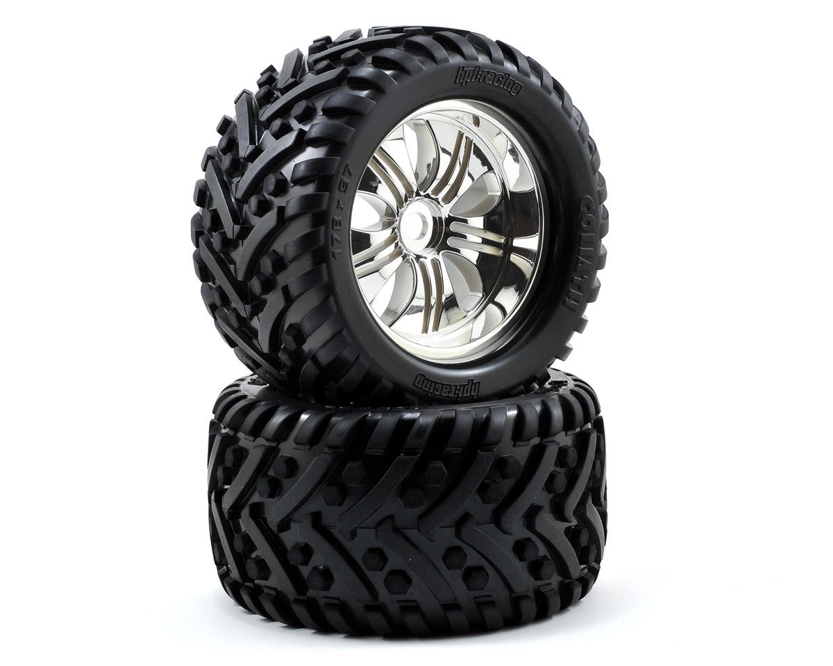 Pre-Mounted Goliath Tire w/Tremor Wheel (2) (Chrome) by HPI Racing