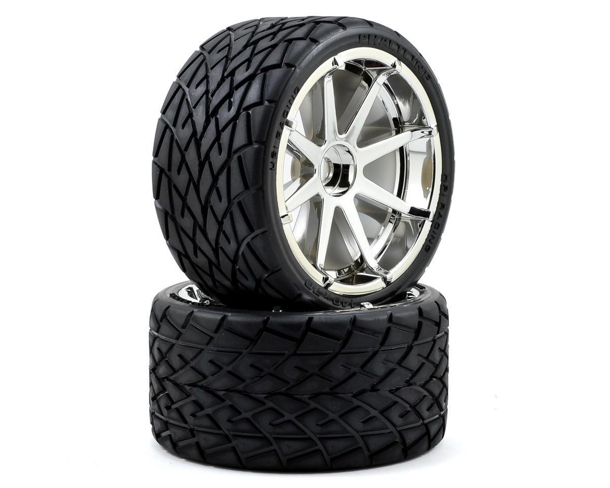 Pre-Mounted Phaltline Tire w/Blast Wheel (2) (Chrome) by HPI