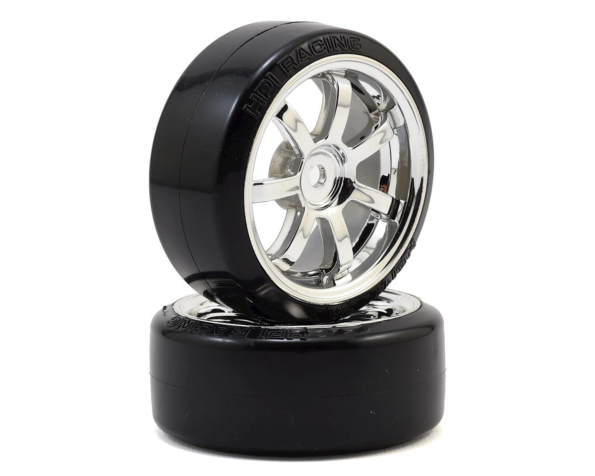 HPI 1/10th Hoonicorn 12mm Hex 26mm T-Drift Tire w/Rays 57S-Pro Wheel (Chrome) (2)