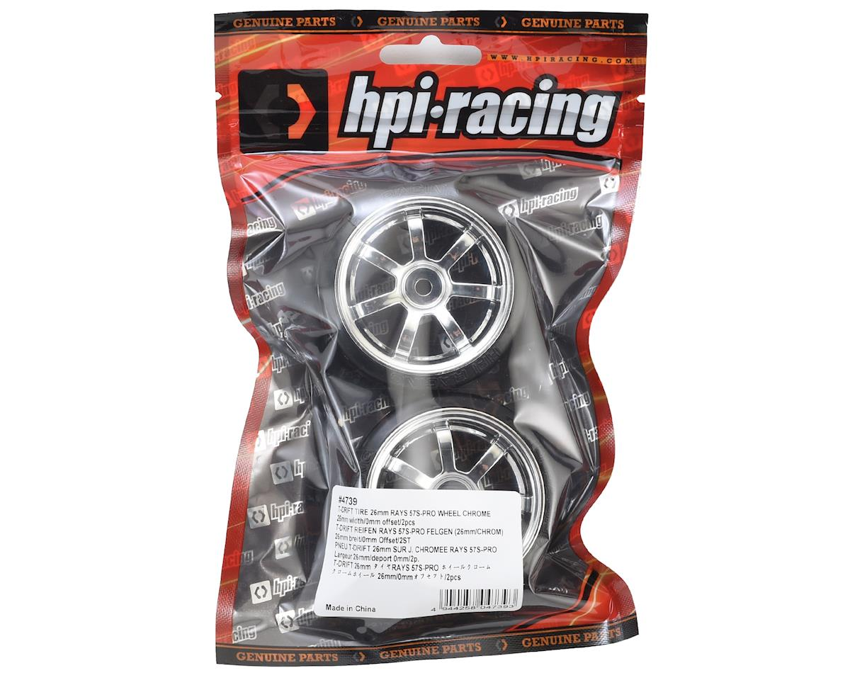 12mm Hex 26mm T-Drift Tire w/Rays 57S-Pro Wheel (Chrome) (2) by HPI