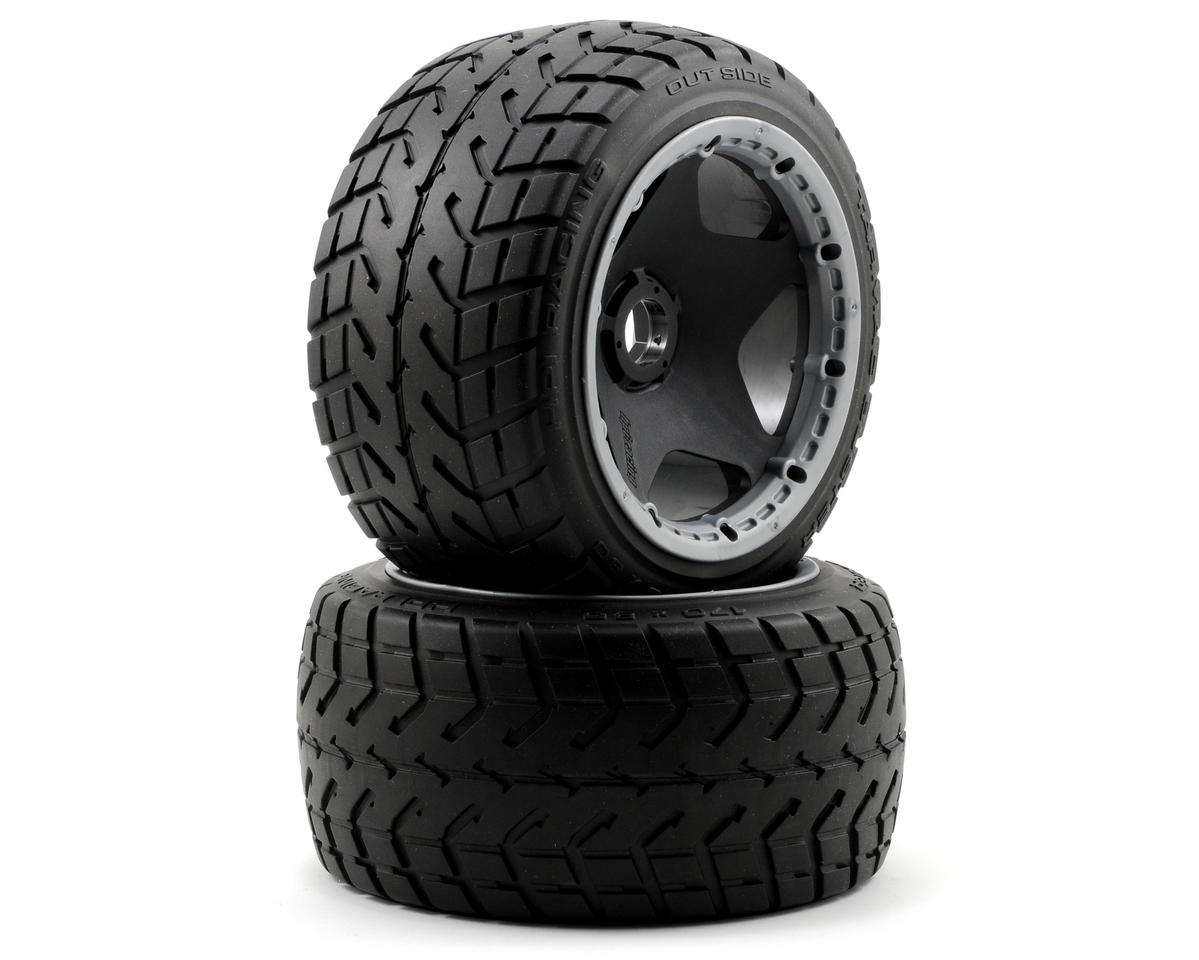 Pre-Mounted Tarmac Buster Rear Tire w/Black Wheel (2) by HPI