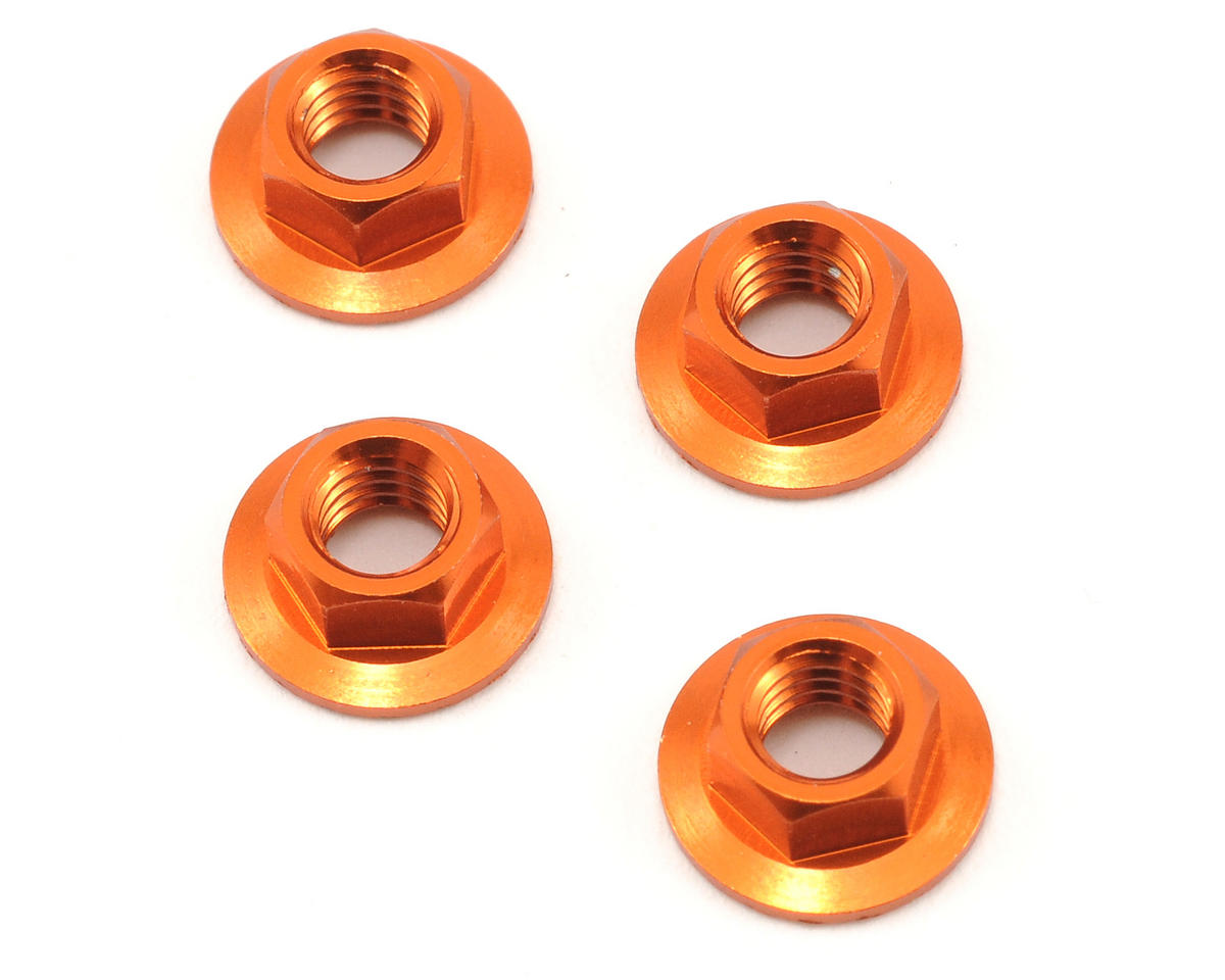 HPI Racing 4mm Serrated Flanged Wheel Nut (Orange) (4)