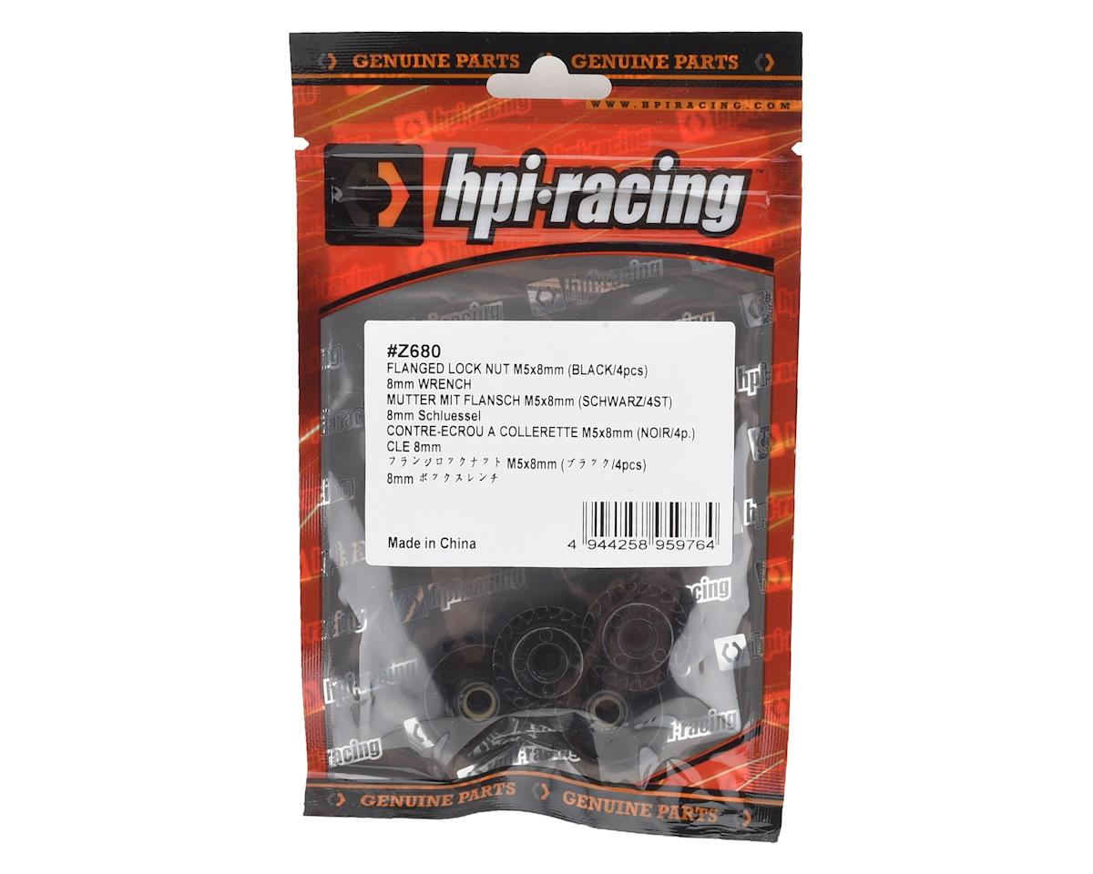 HPI Racing 5x8mm Flanged Locknut Set (Black) (4)
