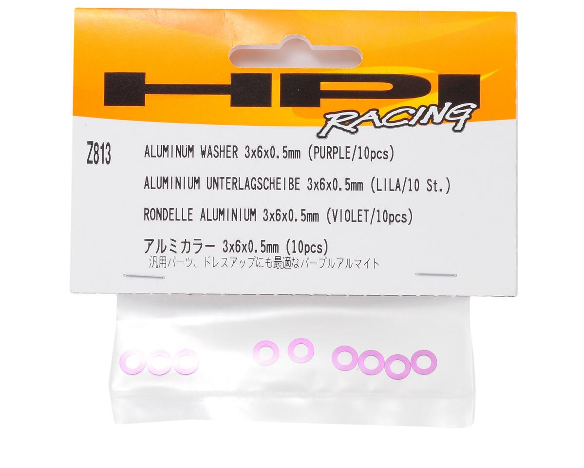 HPI Racing 3x6x0.5mm Aluminum Washer (Purple) (10)