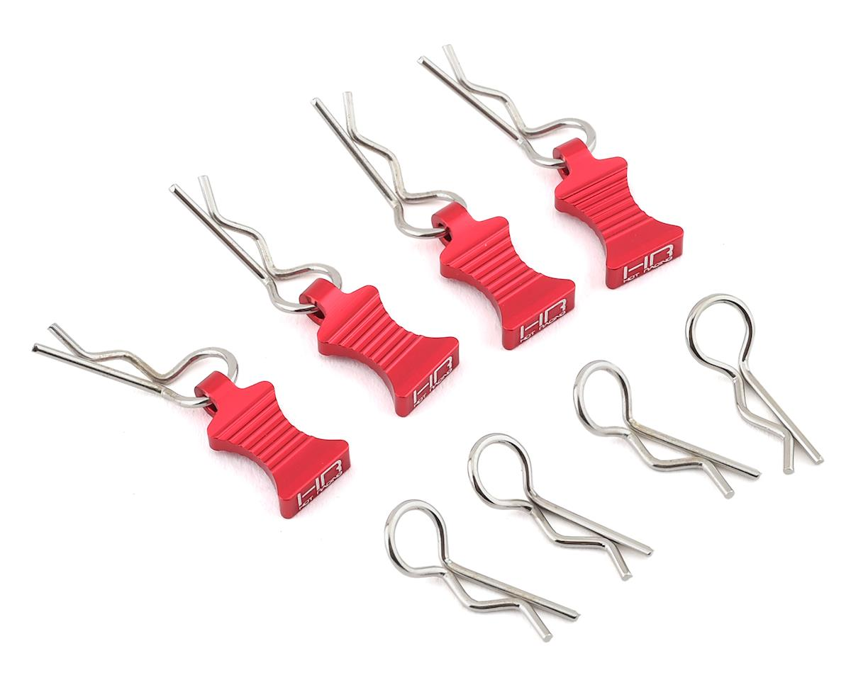 Hot Racing 1/10 Aluminum EZ Pulls w/Body Clips (Red) (4)