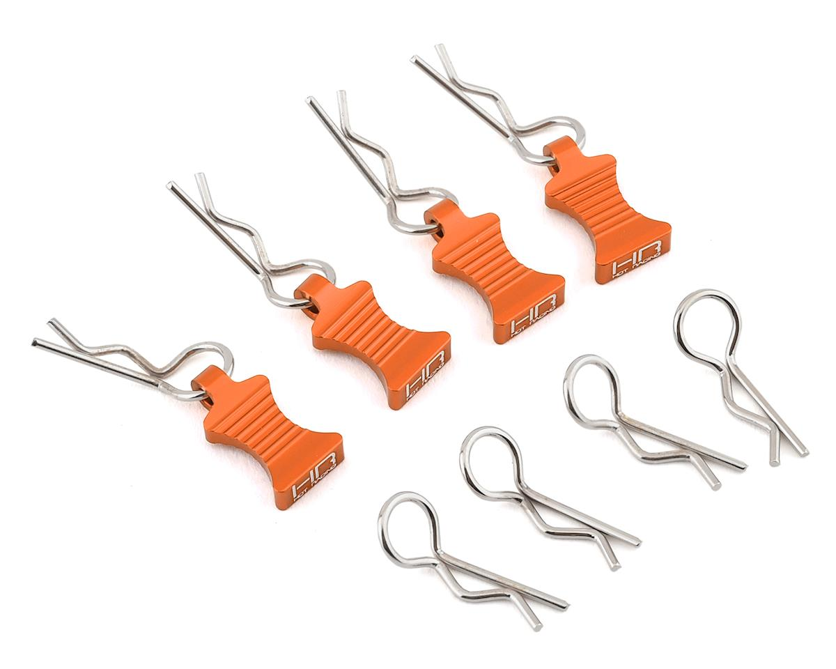 Hot Racing 1/10 Aluminum EZ Pulls w/Body Clips (Orange) (4) (Team Associated SC8.2e)